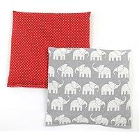 Preisvergleich für Set Kirschkernkissen Wärmekissen Körnerkissen ca.25 x 25 cm kleine rote Punkte und graue Elefanten