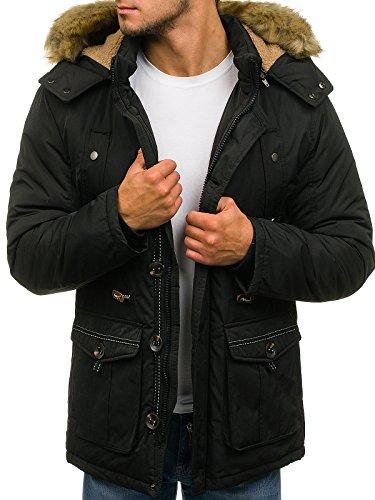 BOLF Hombre Chaqueta de Invierno Capucha Con Pelo Chaqueta Parca J.BOYZ 1018 Negra L [4D4]