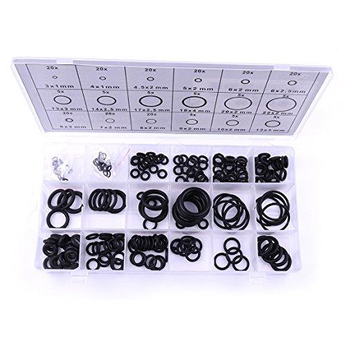 atoplee 225pcs O-Ring Metrisches Gummidichtungen Sortiment-Set, 18Größe Sortiment Kit SAE Pneumatic Air Gummi Hydraulische Werkzeug Paintball Set