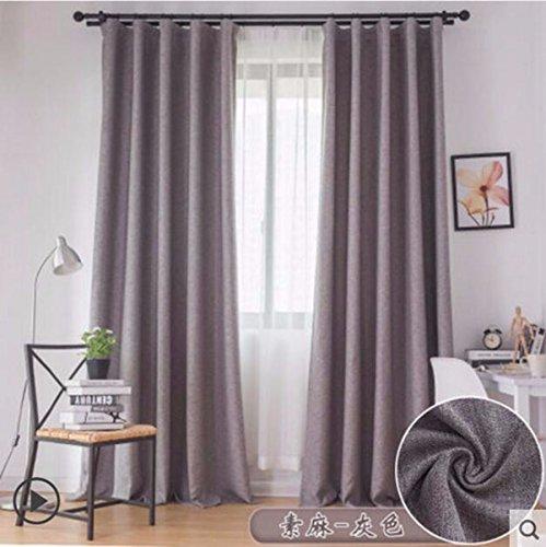 Tende colore puro cotone, lino sipario panno camera shading stoffa lebbra arte moderna cortina semplice,b,250 x 270 cm (w x h) x 2,