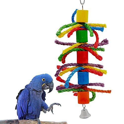 Parrot Toy, Rusee Small or Medium-Sized Parrot Hanging Toys Pure Natural Colorful Rainbow Bead Cage Parrot Nest Bird Chewing Toy Test