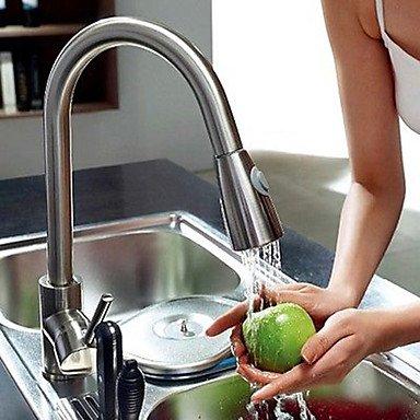 Küchenarmaturen Küchenarmatur Zeitgenössisch Mit ausziehbarer Brause Messing Gebürsteter Nickel