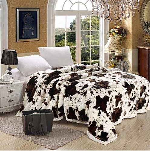 Manta súper suave Animal Vaca Estampado flores Doble
