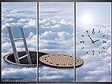 3 Tlg Leinwandbilder Wanduhr Gullideckel zum Himmel Wandbild Leinwand Bild Restaurant Büro Hotel Wohnzimmer Universität Heim Uhr 111x80 Lwb440