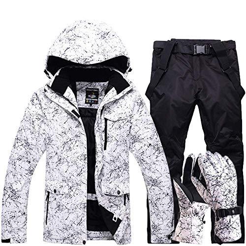FuweiEncore Hombres, Damas, Parejas Chaquetas de esquí Impresas a Prueba de Viento, a Prueba de Viento Pantalones de esquí Conjunto Chaqueta de Snow Coat (Color : Negro, tamaño : XL)