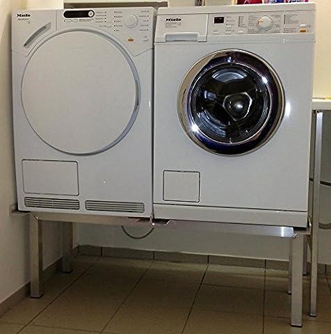 Waschmaschinen Untergestell Mara 2 High / Extra Hoch / Verstärkte Aluminium - Ausführung / rostfrei / Unterbau für 2 Maschinen Trockner und Waschmaschine