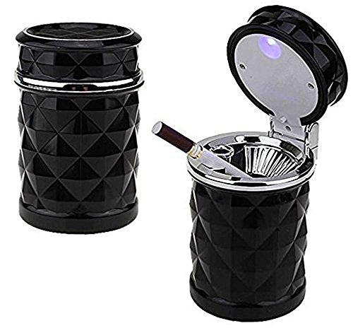 Preisvergleich Produktbild Auto Aschenbecher, AUKO aschenbecher beleuchtet Portable mit deckel Raute Muster Aschenbecher für auto-schwarz