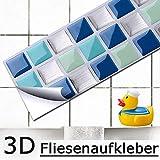 Grandora 4er Set 25,3 x 5,4 cm Fliesenaufkleber blau türkis Silber Mosaik I 3D selbstklebend Küche Bad Wandaufkleber Fliesendekor Folie Wandsticker Aufkleber W5195