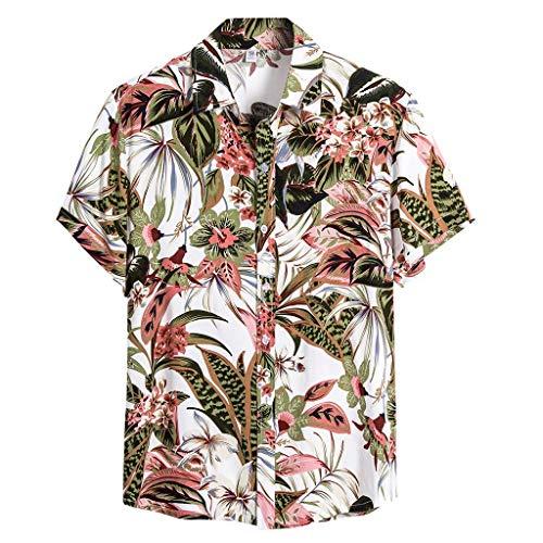 Kolila Herren Hawaii Shirts Hemden Mehrfarbiges T-Shirt T Shirts Casual Sommer Ethnischen Stil Drucken Revers Knopf Kurzarmshirts Oberteile