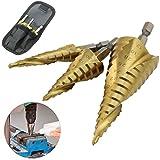 3pcs HSS cono de paso Cónica Brocas Titanio en para Metal mango hexagonal espiral ranura Acero de Alta Velocidad 4-12 4-20 4-32 mm