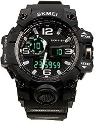 HUKOER Reloj de pulsera reloj con Dial grande Digital Impermeable deportivo Fecha/Calendario/Cronógrafo/ Alarma Tiempo Dual Display para chicos hombres (Negro)