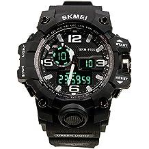 Reloj de pulsera reloj con Dial grande Digital Impermeable deportivo Fecha/Calendario/Cronógrafo/ Alarma Tiempo Dual Display para chicos hombres (Negro)