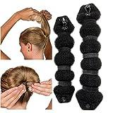 HENGSONG Foam Sponge Clip Curler Ring Twist Tool Hair Styling Donut Bun Former Maker, 2PCS (Black)