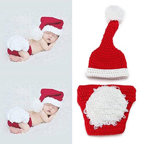 Sunfire Neugeborenen-Kleidung, Häkel-Strick-Kostüm, für Fotografie in Weihnachts-Optik, rot und weiß
