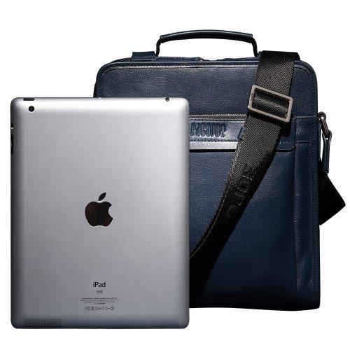 Oneworld Herren Rindleder Messenger Bag Aktentasche Schultertasche Notebooktasche Handtasche Umhängetasche Schultasche Mini Bag 24x28x8cm(BxHxT) Grau Blau