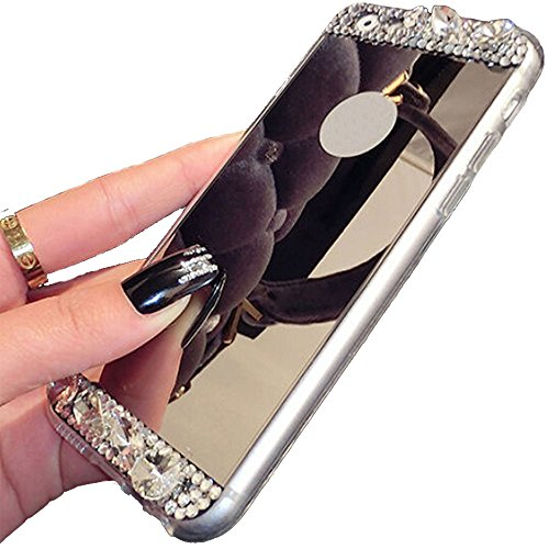 iPhone 6S Schutzhülle, Schwarz Lemon Luxus Beauty Diamant Glitzer Hybrid Bling Soft Shiny Sparkling mit Glas Spiegel Backplate Schutzhülle für Apple iPhone 6 6S 11,9 cm iPhone 6/6S Plus gold - Glas Backplate
