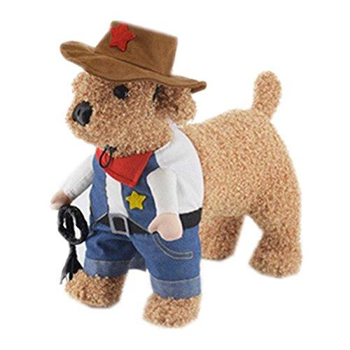 Kostüm Hunde Stehen - zantec Pet Kostüme Hund Kleid bis stehen für Amuse gehen Hund Katze Cowboy Uniform mit Hat Funny Pet Cowboy Outfit Kleidung für Hunde & Katzen