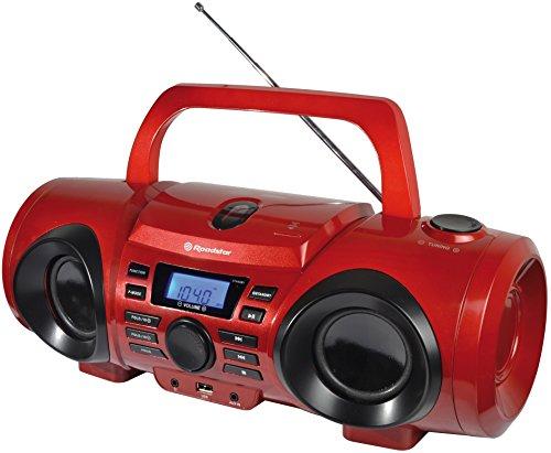 Roadstar CDR-265U rot Boombox mit LCD-Anzeige (CD/MP3, USB, AUX-In, Kopfhörerausgang)