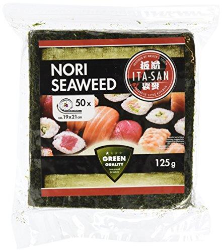 ITA-SAN Seetang, geröstet, für Sushi, ganzes 50 Blatt, nori grün, 125 g (Seetang-blätter Für Sushi)