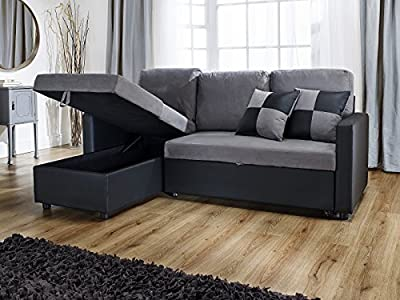 Rio L Shape Sofa With Pull Out Sofa Bed In Black And Grey