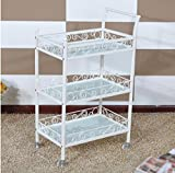 UanPlee-SB Kitchen Sink Shelf Beauty Carts Utility Vehicle Beauty Car Trolley Wine Car SPA Style Foot Car Nail Car White Glass Plate.