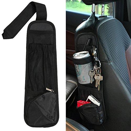 Raiphy Autositz Tasche Organizer PKW Tasche seitentasche für Seitliche Sitzbefestigung (Schwarz) (Seitliche Große Mesh-tasche)