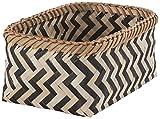 Compactor Medium Bamboo Zebra Basket, Black and Natural