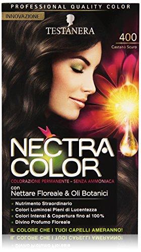 Testanera - Nectra Color, Colorazione Permanente, Senza Ammoniaca, 400 Castano Scuro