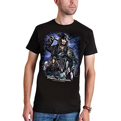 Charakter-jugend-t-shirt (Fluch der Karibik Herren T-Shirt Salazars Rache Collage zu Teil 5 Elbenwald Baumwolle schwarz - S)
