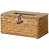 Décoratif Natual Paille Weave Tissue Box Serviette Holder Car Hand-woven Paille Case Home Decor Rushwork Decorative , orange