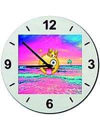 """Cristal reloj """"SMILEY en el paraíso al atardecer con los delfines y la corona"""", regarder- Ø18- ø20- ø30- Smiley- Emoji- astuces de Navidad, Ø18 cm"""