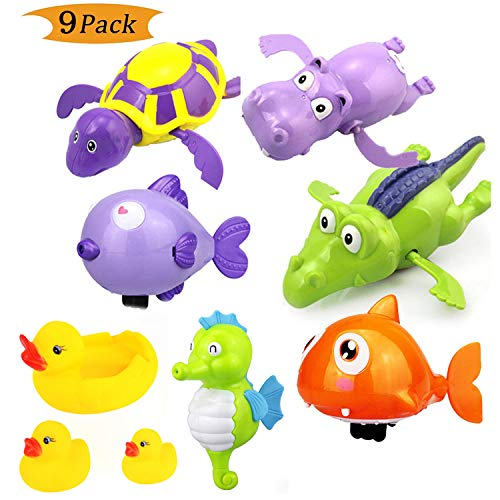 Baby Bath Toy, Wind Up Bath Toys, Best Baby Bath Toy Set, Bath time Fun Tub Toys, Lovely Turtle Fish Shark Hippo Clockwork Chain Animal Swimming Toys Kids Bathtime toy Classic Toys