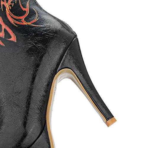 VogueZone009 Femme Matière Mélangee Haut Demi Couleurs Mélangées Zip Stylet Bottes Noir