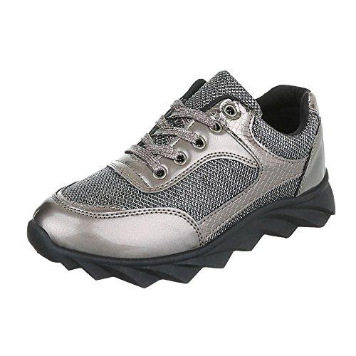 Ital-Design - Low-top Donna grigio argento