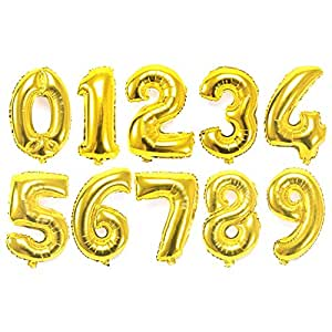 Rrimin Foil Number/Digits Balloons, 16 Inches (Golden and Silver) - Pack of 10
