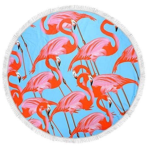 maplehouse Custom Blau Hintergrund Flamingo Muster Strandtuch–Runde Tischdecke Wandbehang Tapisserie