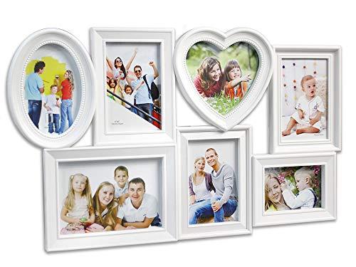 Vetrineinrete® cornice portafoto da parete 7 foto vari formati stile shabby bianca 56 x 34 cm con cuore e cornice ovale ganci sul retro arredamento casa idea regalo collage g64