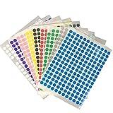 Xinlie Punktaufkleber 10mm Klebepunkte Bunt Runde Punkt Aufkleber Klein Farbcodierung Etiketten 9 Farben, 18 Blätter