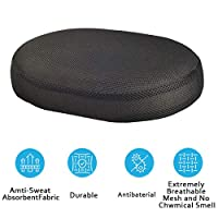 Seat Cushion Pad Converts Any Chair Into a Comfortable Swiveling Chair, Reduces Pressure Point Sensitivity & Alleviates Back, Knee & Hip Pain, Supports up to 300 lbs (Black)