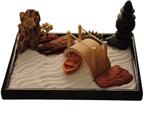 Il kit del mini giardino Zen d ponte litica barca incensiere carattere giapponese del marchio ICNBUYS regala il rastrello lo strumento Pincha e il