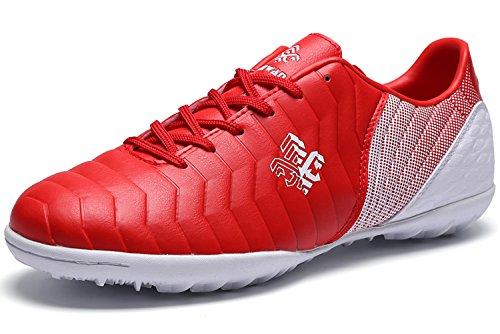 Fussballschuhe Kinder FG/TF Fußballschuhe Jungen Low Top Trainingsschuhe Für Unisex-Kinder: Gr. EU38=Fit Fußlänge 24.3cm, Rottf