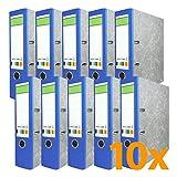 versando 10 x Blauer Rücken Ringordner grüner Balken A4 80mm wolkenmarmor mit Blauer Engel, Made in EU, Schlitzordner, Büroordner