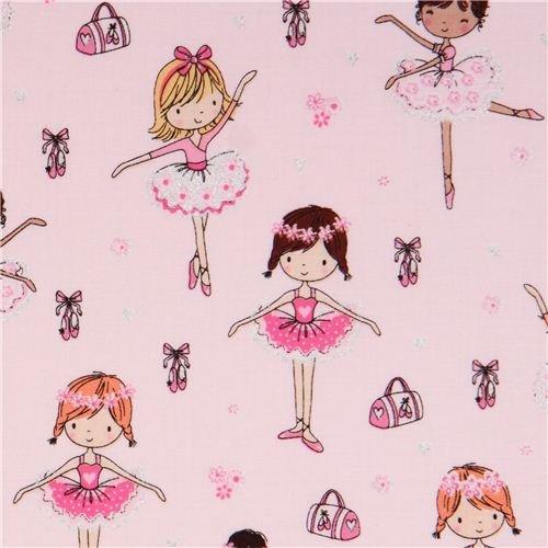 Tissu Timeless Treasures rose pâle à paillettes avec des danseuses de ballet