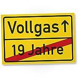 DankeDir! Vollgas (19 Jahre) Kunststoff Schild - Geschenk 20. Geburtstag, Geschenkidee Geburtstagsgeschenk Zwanigsten, Geburtstagsdeko/Partydeko / Party Zubehör/Geburtstagskarte