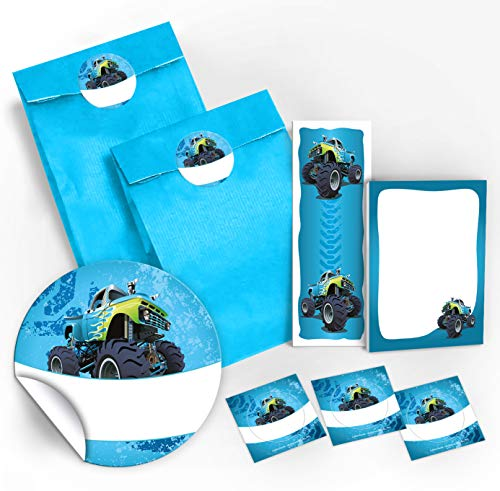 12 Geschenktüten / blau + 12 Aufkleber + 12 Lesezeichen + 12 Mini-Notizblöcke Monster-Truck / Mitgebsel Gastgeschenk für Kinder Jungen Kindergeburtstag Geburtstag Party-Zubehör Giveaways (Party Zubehör Kinder)