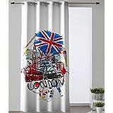 Cortina Modelo Acuarel, Estampado Londres, Medida 140x280cm