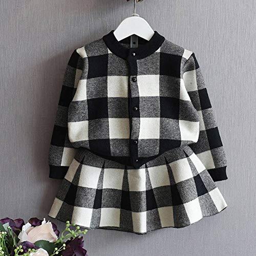 KIHUI Mädchen Kleidung Sets Herbst Winter Mädchen Anzug Jacke + Kleid 2 Stück Set Classic Black and White Lattice Style Kinderkleidung -