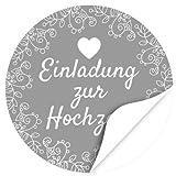 48 moderne Design Etiketten, rund / Grau / Hochzeit / Liebe / Herz / Einladung / Aufkleber / Sticker / Heiraten
