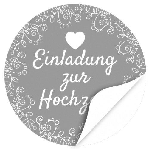iketten, rund/Grau/Hochzeit/Liebe/Herz/Einladung/Aufkleber/Sticker/Heiraten ()