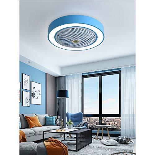 HXYT Moderne minimalistische Deckenventilatorleuchte, farbige Deckenventilatorleuchte mit Fernbedienung, geeignet für das Wohnzimmer im Innenbereich - dreistufig dimmbar -